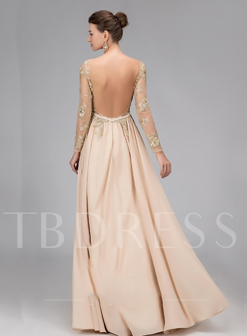 A-Line Bateau Neck Long Sleeves Appliques Evening Dress