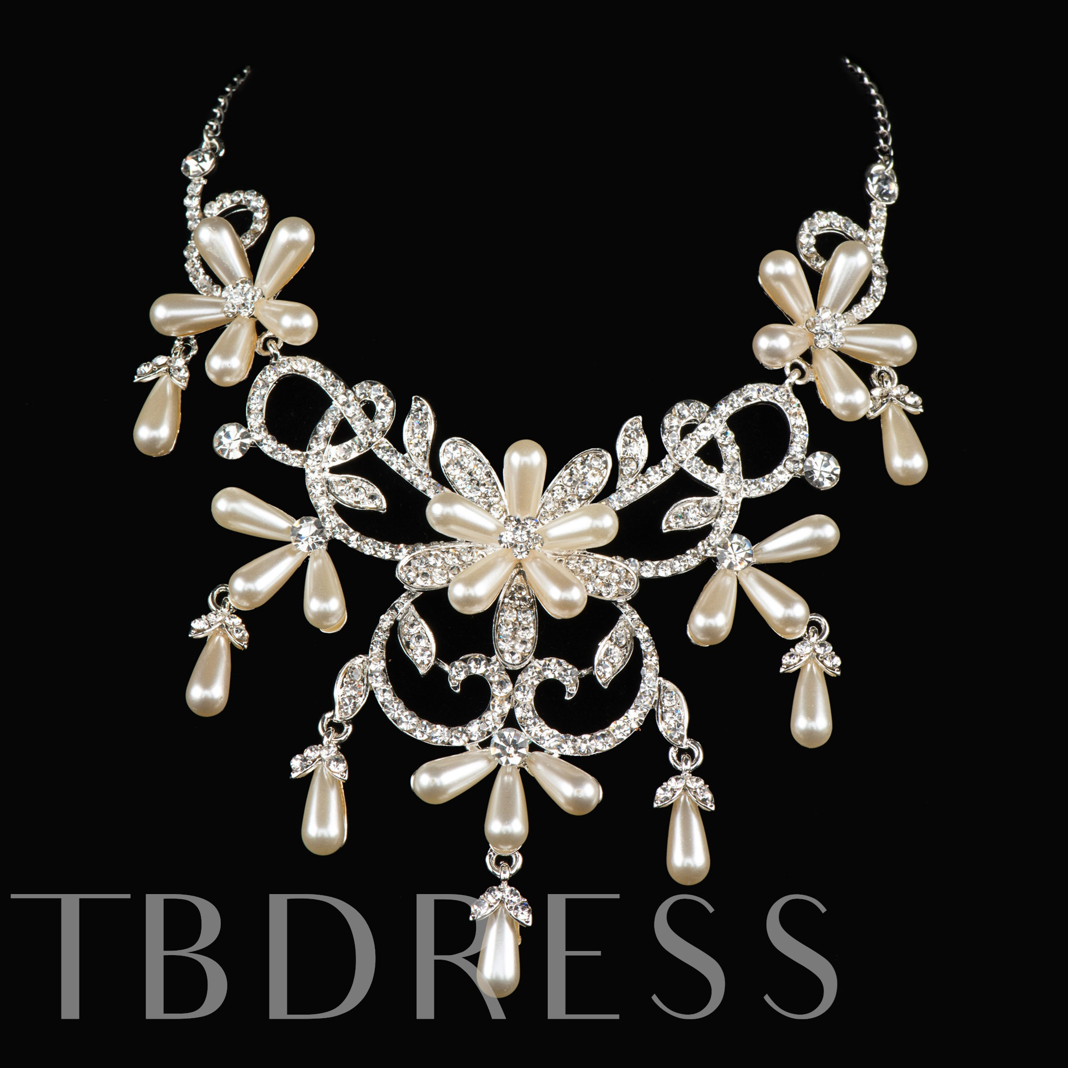 Pearls Wedding Jewelry Set (Include Tiara Necklace and Earring)