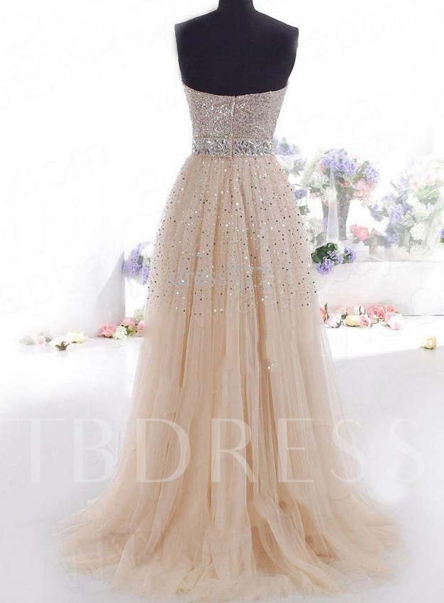 Sweetheart Beading Sequins Champagne Prom Dress