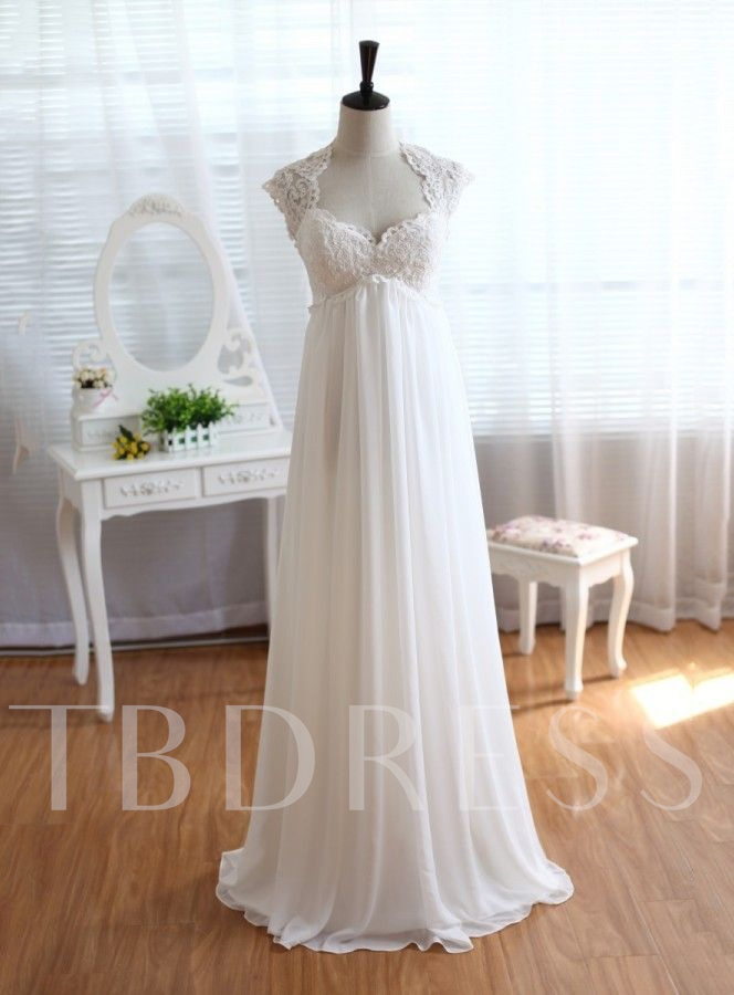 Open Back Empire Waist Lace Beach Wedding Dress