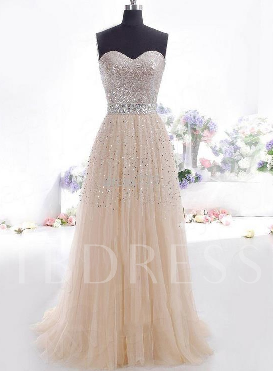 A-Line Rhinestone Sweetheart Sequins Prom Dress