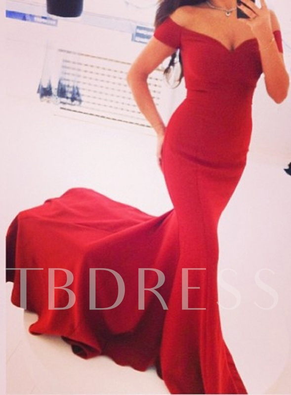 Pure Color Mermaid Off-the-Shoulder Court Train Evening Dress