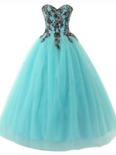 Sweetheart Appliques Lace-Up Long Ball Gown