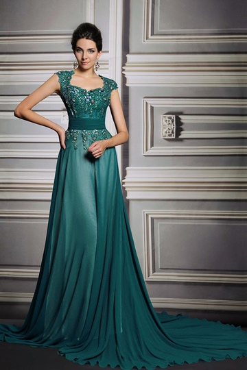 A-Line Square Neck Beadings Court Train Evening Dress