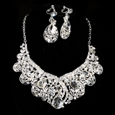 Alloy Rhinestone Wedding Jewelry Set(Including Necklace and Earrings)
