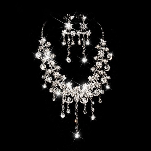 Rhinestone and Alloy Round Wedding Jewelry Set(Including Necklace and Earrings)