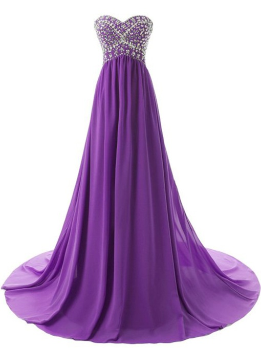 Sweetheart Beaded A-Line Purple Evening Dress