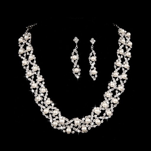 Alloy with Pearl Wedding Jewelry Set(Including Necklace and Earrings)
