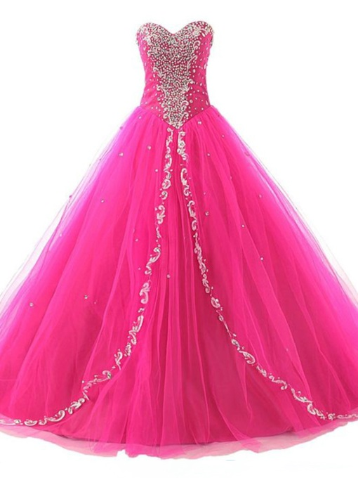 Sweetheart Ball Gown Beaded Sequins Lace-Up Quinceanera Dress