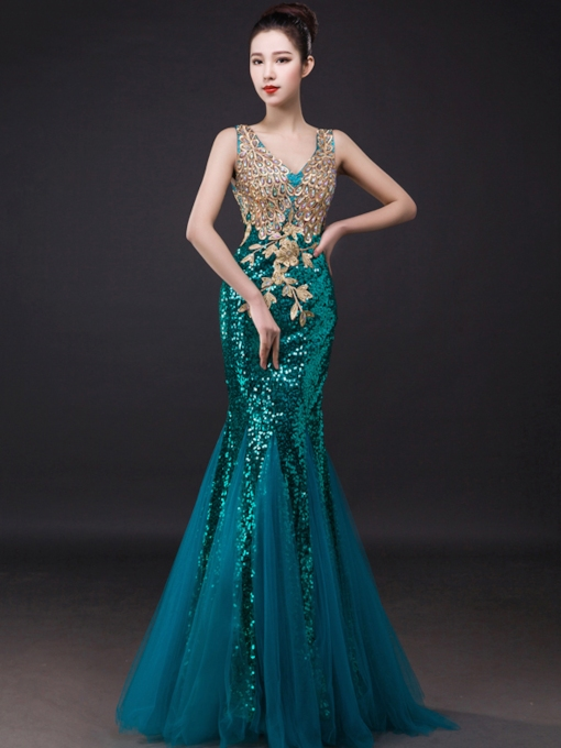 Sheer Back Mermaid Appliques Sequins Evening Dress