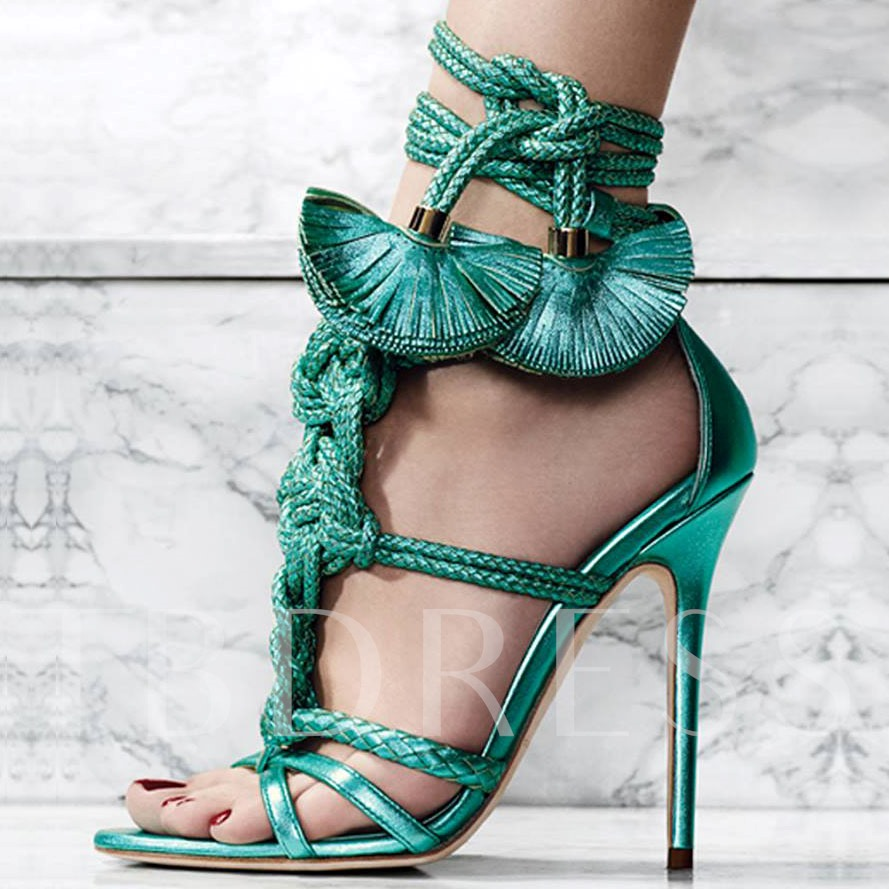 Stiletto Heel Lace-Up Open Toe Cross Strap Hollow Women's Sandals