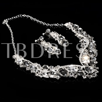 Shiny Rhinestone Bridal Jewelry Set(including Necklace and Earrings)
