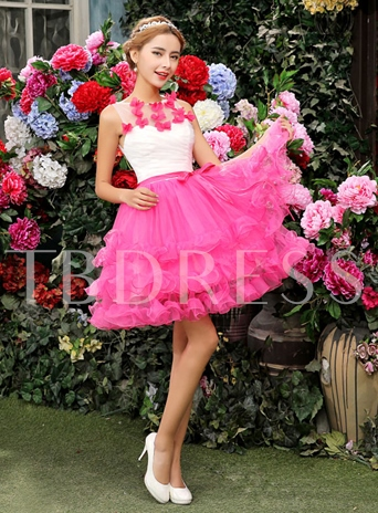 A-Line Flowers Jewel Neck Short Sweet 16/Homecoming Dress