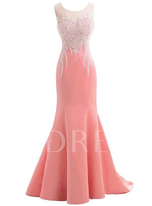 Sheer Neck Bowknot Long Evening Dress