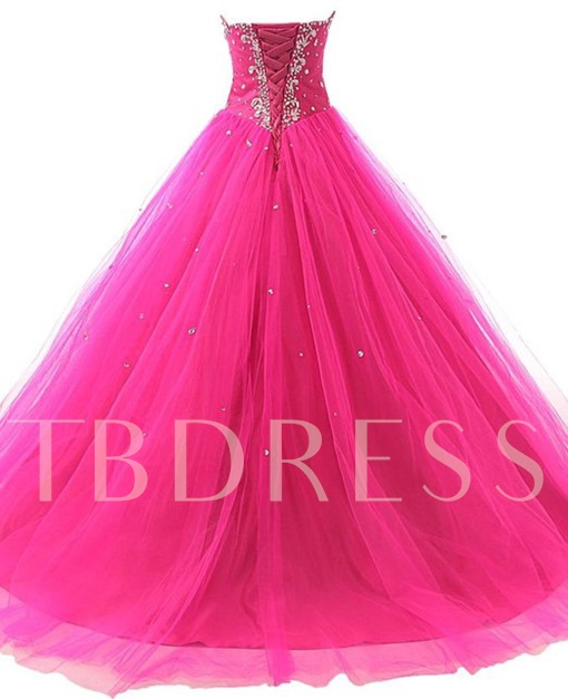 Sweetheart Ball Gown Beaded Sequins Lace-Up Long Quinceanera Dress