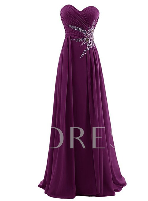 A-Line Sweetheart Beaded Long Evening Dress