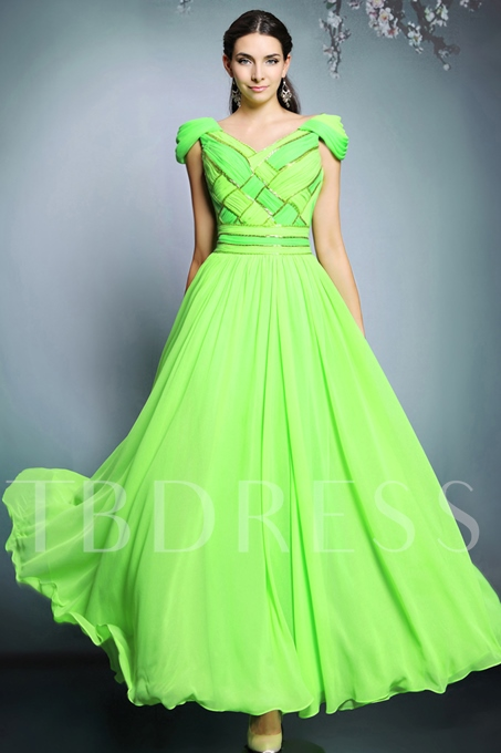 V-Neck A-Line Ruched Floor-Length Evening Dress