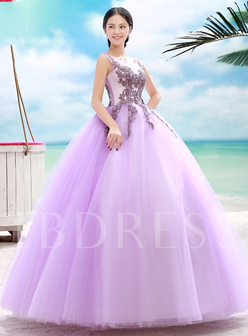 Scoop Ball Gown Appliques Quinceanera Dress