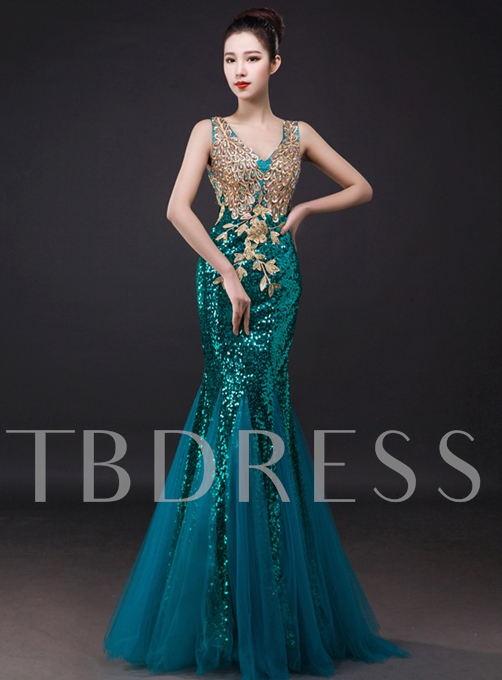 V-Neck Rhinestone Mermaid Sequins Appliques Evening Dress