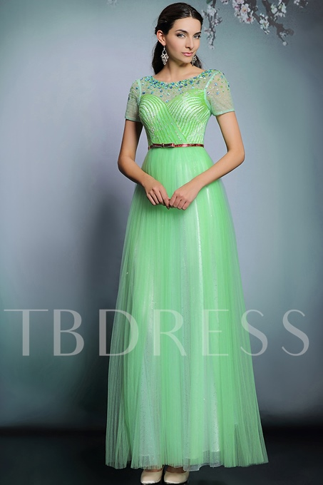 Scoop Neck A-Line Short Sleeves Beadings Evening Dress