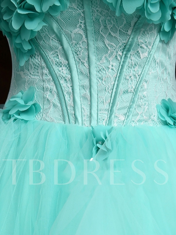 Sweetheart Flowers Lace Floor-Length Quinceanera Dress