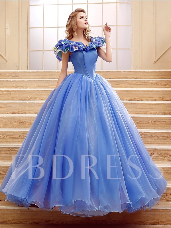 V-Neck Appliques Ball Gown Quinceanera Dress
