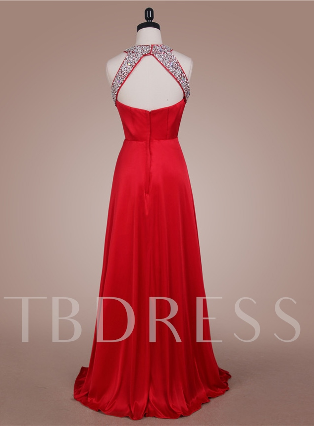A-Line Halter Beadings Rhinestone Prom Dress