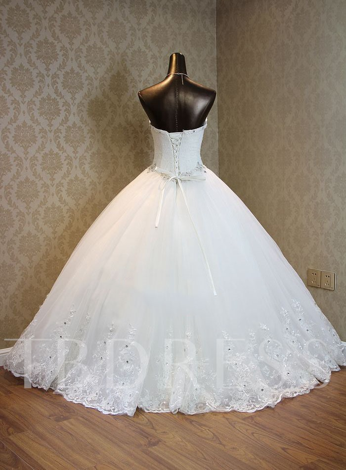 Strapless Beading Lace Ball Gown Wedding Dress