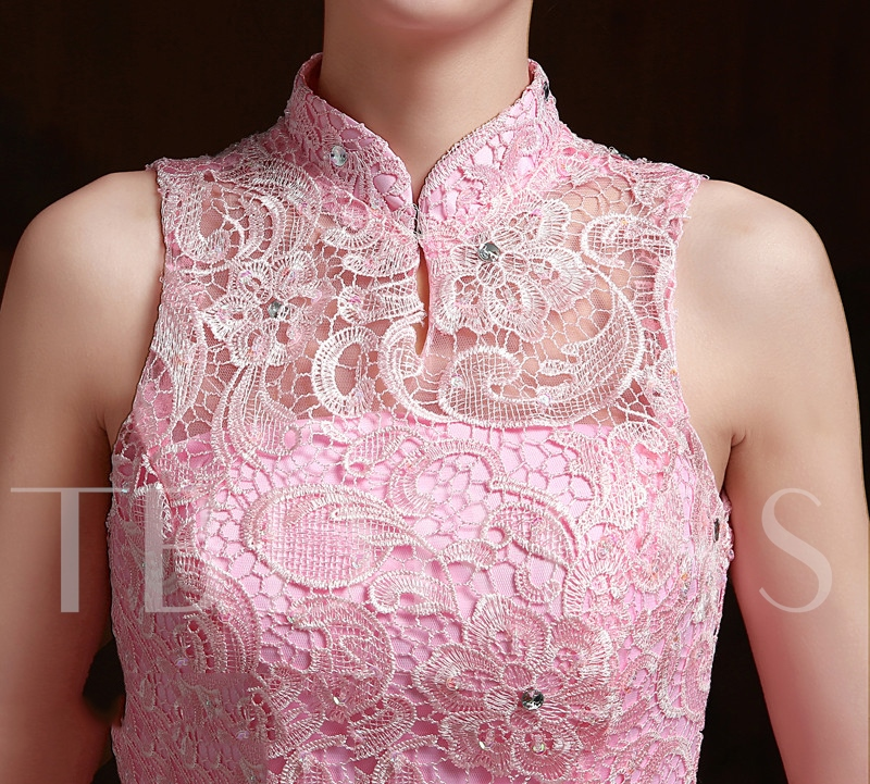 High Neck Bowknot Beading Lace Quinceanera Dress