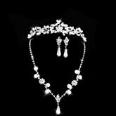Beading Silver Wedding Bridal Jewelry Set (Including Tiara, Necklace and Earrings)