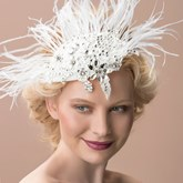 Feather Rhinestone Wedding Hair Flower Bridal Hats