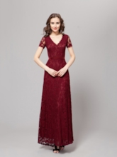 Short Sleeve A-Line Lace Mother of the Bride Dress