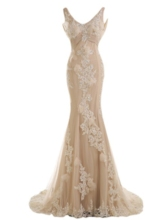 Low Back Sequins Appliques Beaded Mermaid Evening Dress