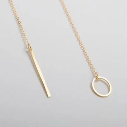 Cos Style Copper Band Upright Stick Ladies' Golden Necklace