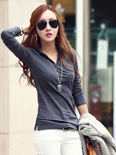 Casual V-Neck Lapel Long Sleeve Women's T-shirt