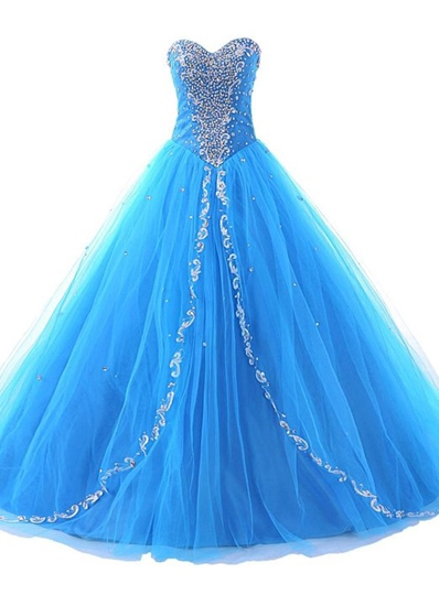 Sweetheart Ball Gown Beadings Sweep Train Quinceanera Dress