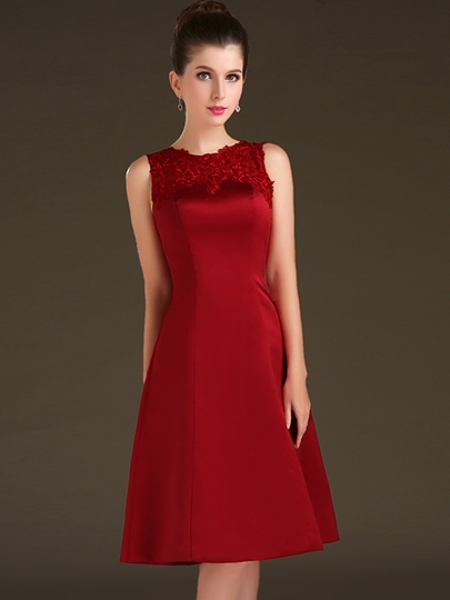 Jewel Neck Button A-Line Appliques Knee-Length Cocktail Dress