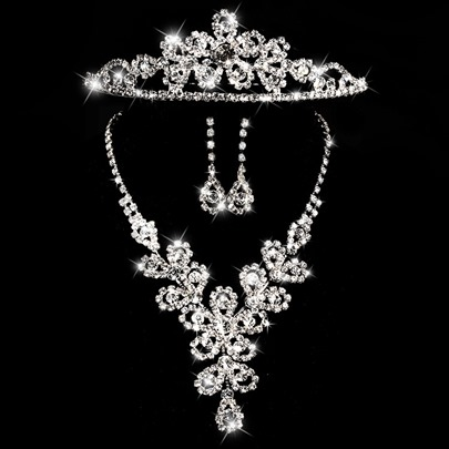 Alloy with Rhinestone Wedding Jewelry Set