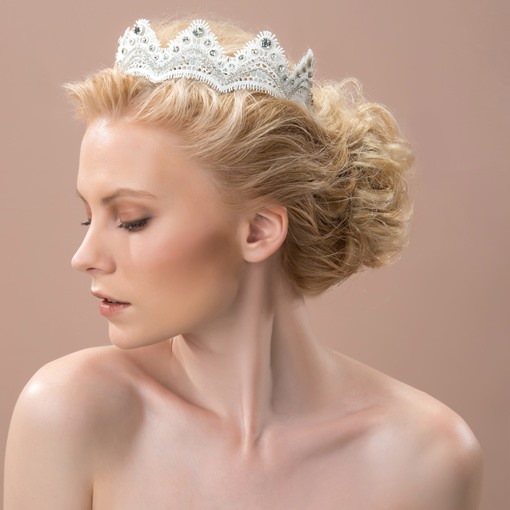 Lace Mountain Shaped Alloy with Rhinestone Wedding Bridal Tiaras