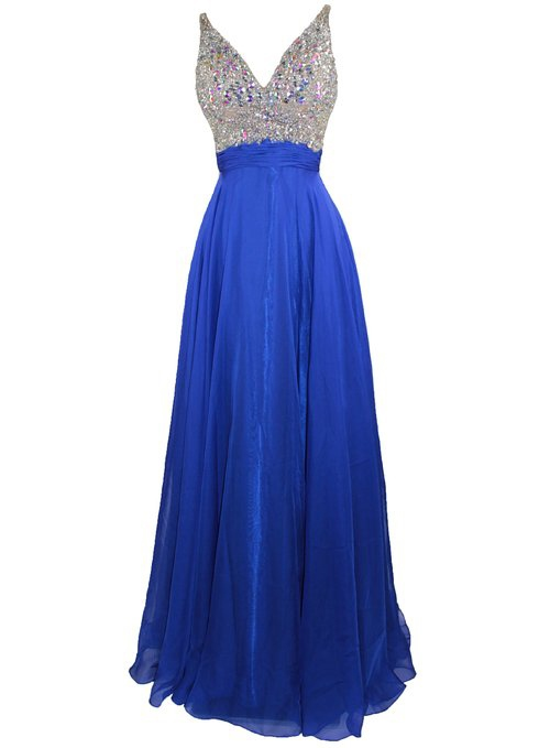 Deep V-Neck Beading Dark Royal Blue Prom Dress