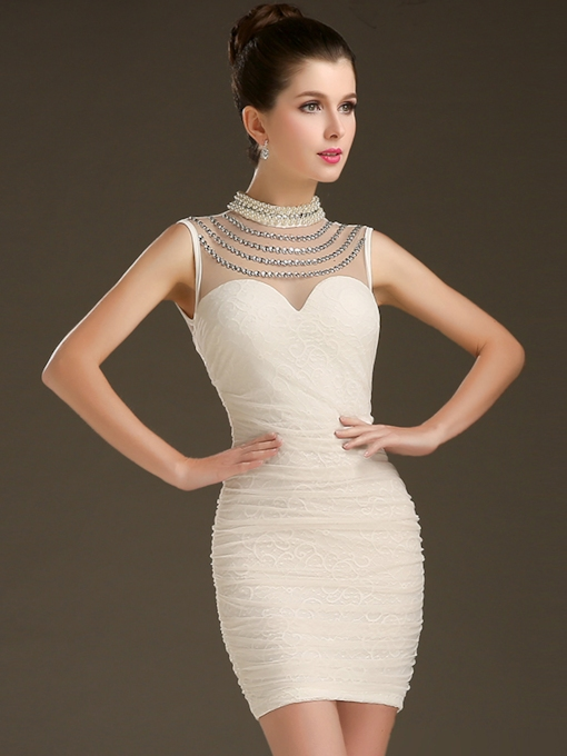 High Neck Column Beadings Mini Cocktail Dress