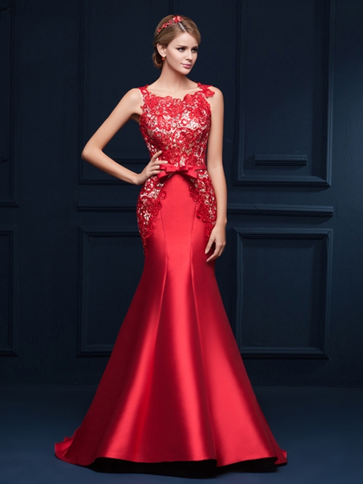 Mermaid Beading Lace Bowknot Red Evening Dress