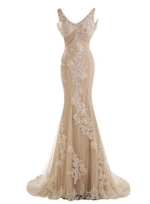 Straps Ruched Mermaid Appliques Beaded Evening Dress