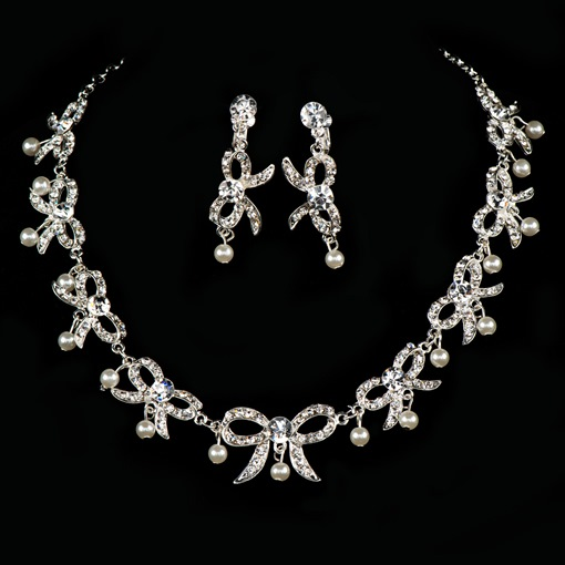Bowknot Rhinestone Pearls Wedding Jewelry Set (Including Necklace and Earrings)