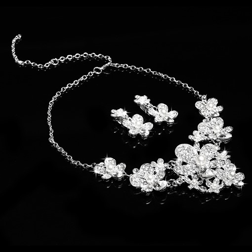 Flowers Shaped Alloy with Pearl Wedding Jewelry Set
