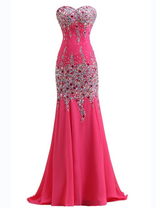 Sweetheart Rhinestone Mermaid Beadings Evening Dress