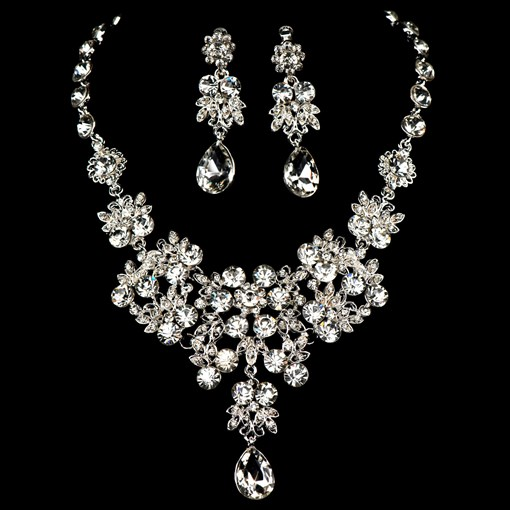 Diamante Floral Silver Wedding Jewelry Sets