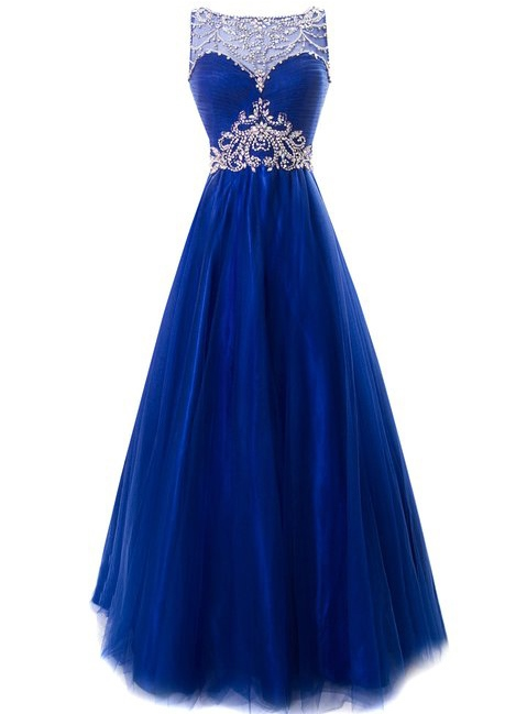 Bateau Neck Backless Rhinestone Prom Dress