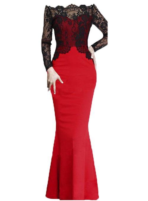 Off-the-Shoulder Long Sleeves Mermaid Lace Evening Dress