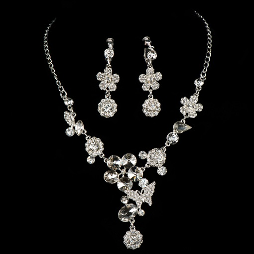 Floral Alloy Zircon Pendant Wedding Jewelry Sets